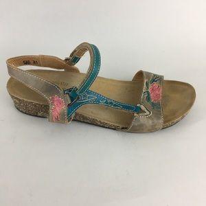 Spring Step L'Artiste Cork Sandal Floral 41 9.5 10